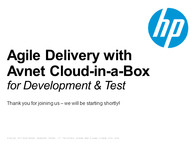Agile delivery with Avnet Cloud-in-a-Box for Development & Test