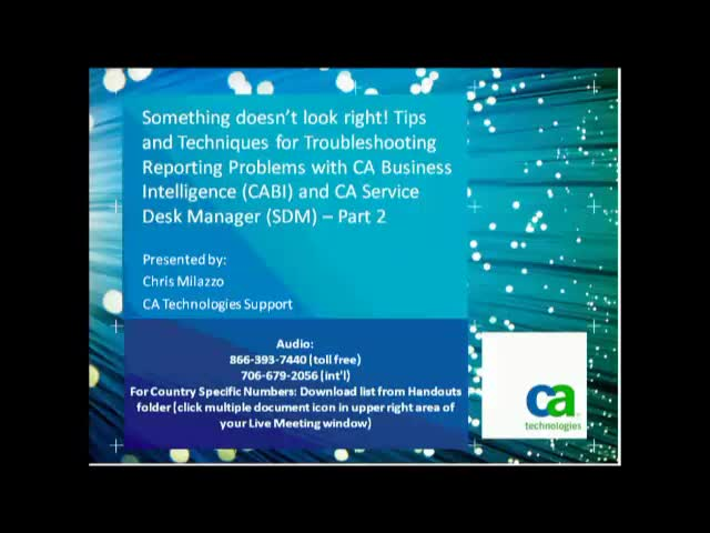 Techniques for Troubleshooting Reporting Problems with CABI & CA SDM, Part 2