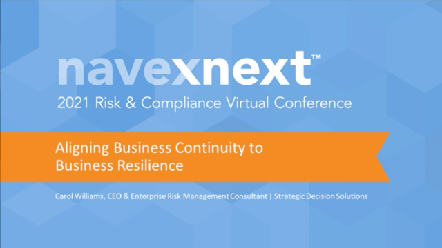 Aligning Business Continuity to Business Resilience