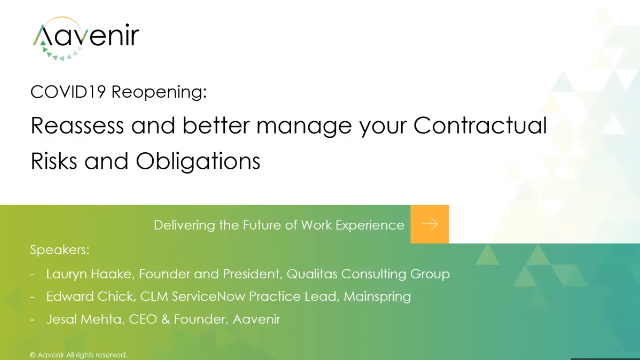 How to manage Contractual Risks and Obligations during COVID19 Reopening