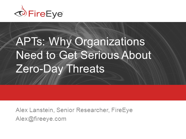 APTs: Getting Serious About Zero-Day Threats