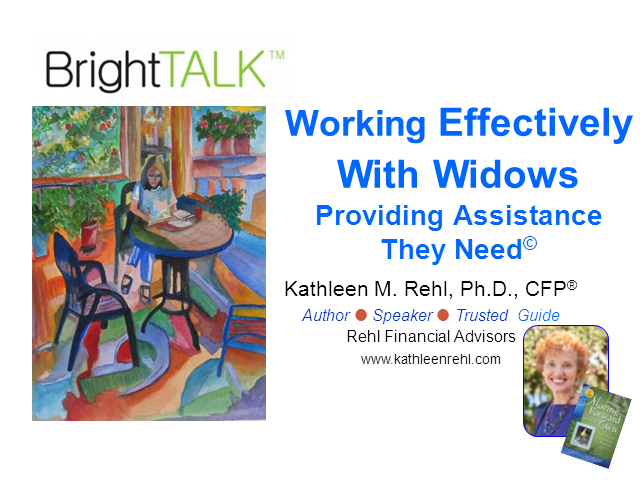 Working Effectively with Widows: Providing Assistance They Need