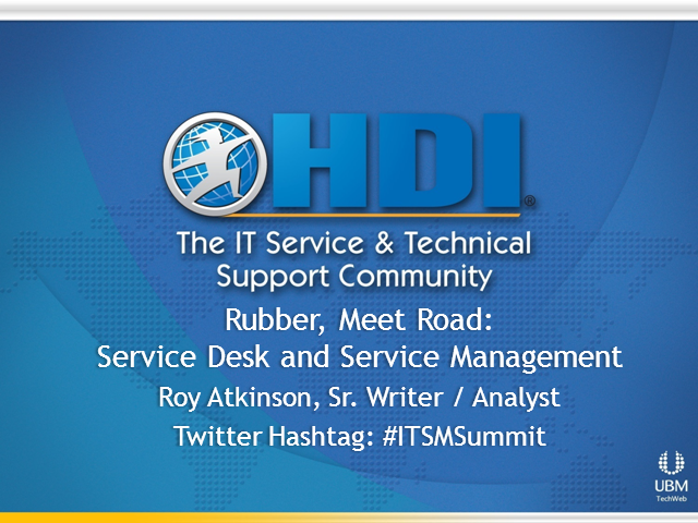 Rubber, Meet Road: Service Desk and Service Management