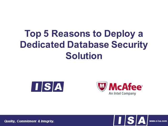 Top 5 Reasons to Deploy a Dedicated Database Security Solution