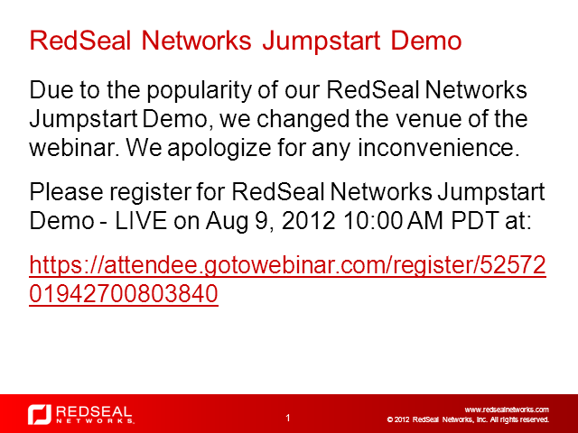Jumpstart to RedSeal Demo - LIVE