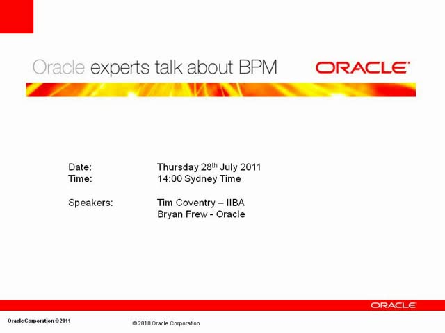 Oracle expert Bryan Frew talks about BPM: Part 1 of 3