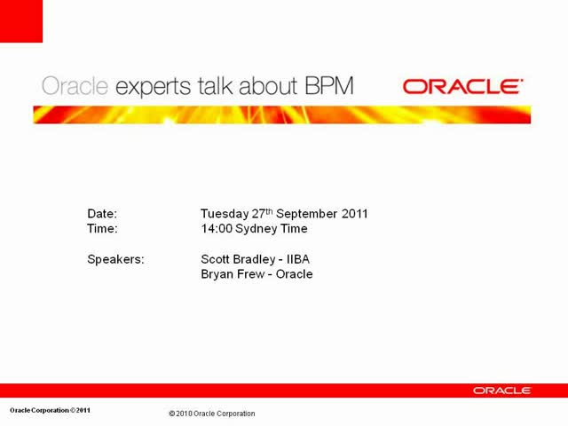 IIBA® Australia Chapter: Oracle expert Bryan Frew talks about BPM: Part 2 of 3