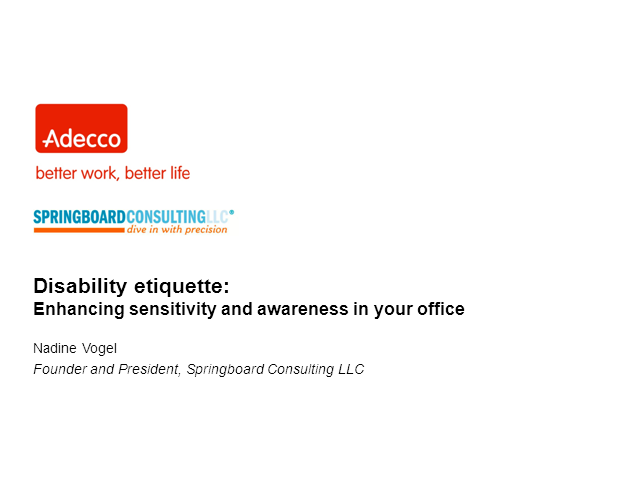 Disability etiquette:  Enhancing sensitivity and awareness in your office