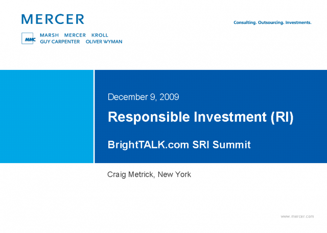 Responsible Investment: Fund manager and investor approaches