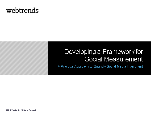 Developing a Framework for Social Measurement