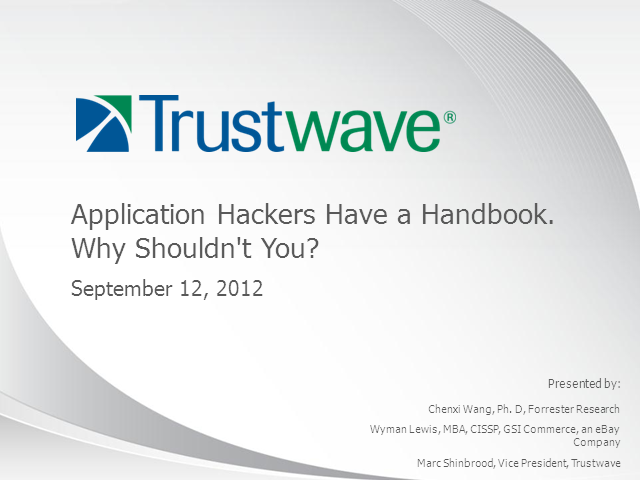 Application Hackers Have a Handbook. Why Shouldn't You?