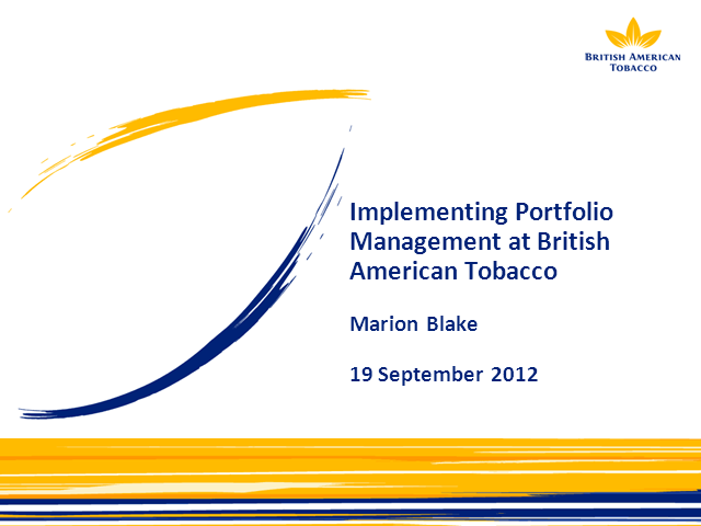 Implementing Portfolio Management in a Global Organisation
