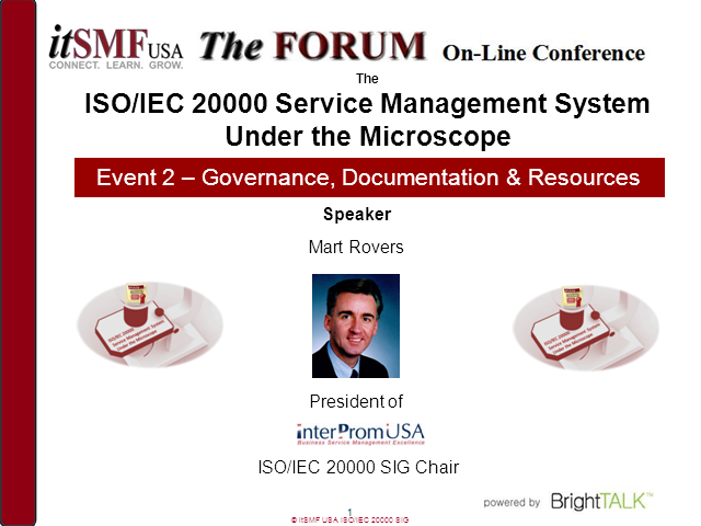 ISO/IEC 20000 SIG | SMS Under the Microscope: Governance, Documentation...