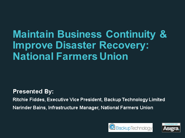 Maintain Business Continuity & Improve Disaster Recovery: National Farmers Union