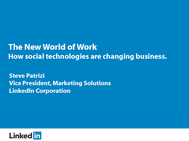New World of Work: How Social Technologies are Changing Business