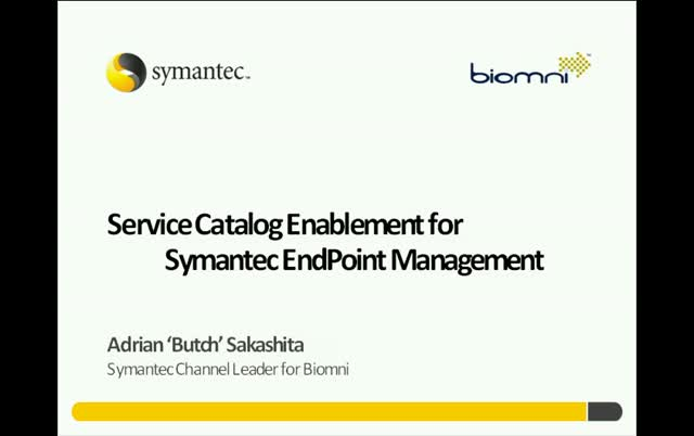 SERVICE CATALOG ENABLEMENT FOR SYMANTEC