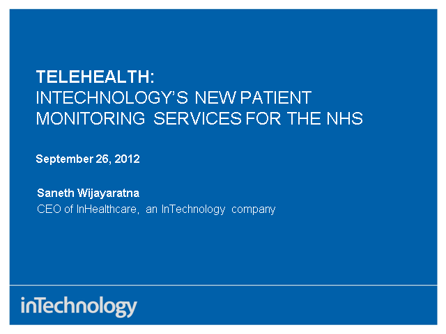 Telehealth: How home monitoring services from InTechnology are helping patients