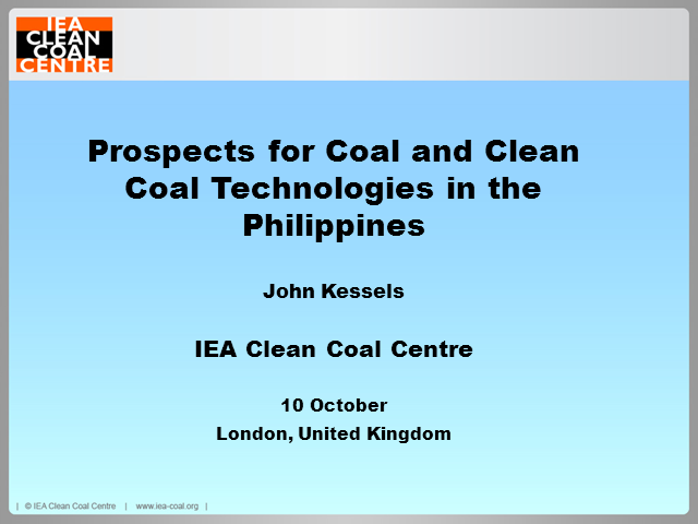 Prospects for coal and clean coal technologies in the Philippines