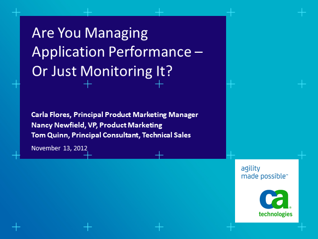Are You Managing Application Performance – Or Just Monitoring It?