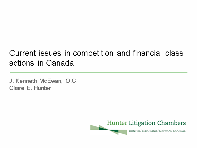 Critical trends in competition and financial class actions