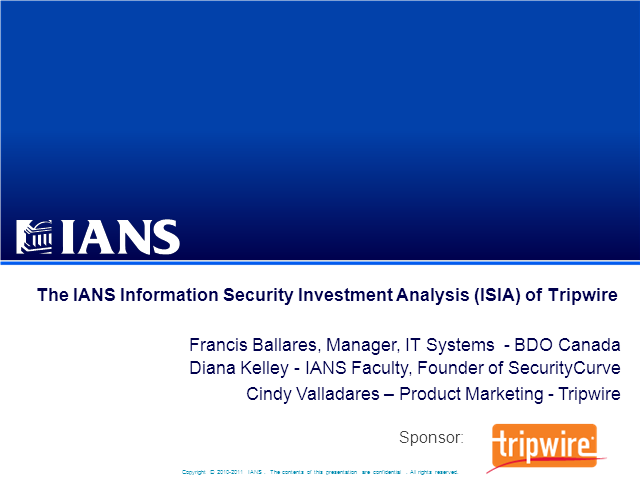 IANS Webcast: Calculating Your Return on Security Investment with Tripwire