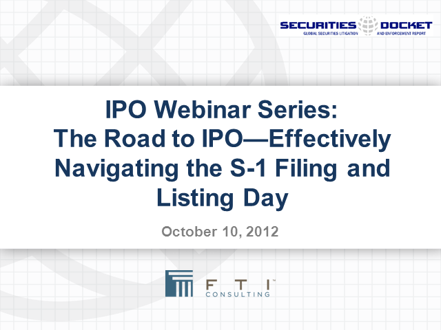IPO Webinar Series: The Road to IPO