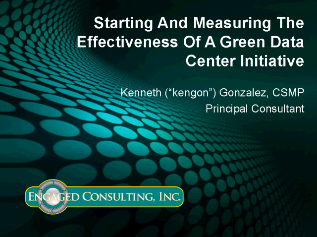 Starting and Measuring the Effectiveness of a Green DC Initiative