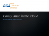 Compliance in the Cloud, a Roundtable Discussion