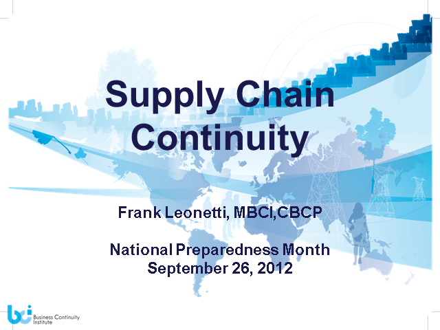Remember to assess and audit your Supply Chain Continuity""
