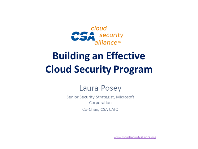 Building an Effective Cloud Security Program: Leveraging the CSA GRC Stack
