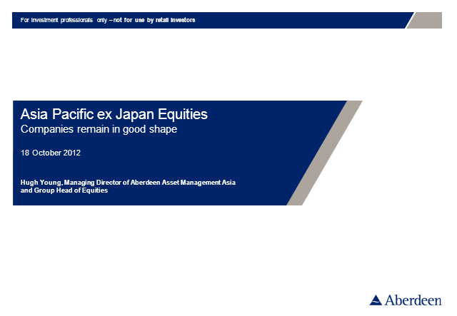 Asia Pacific ex Japan Equities Q3 2012 Update