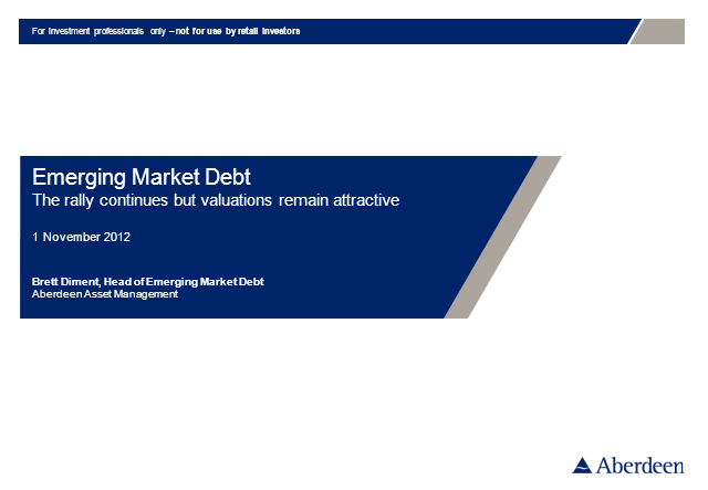 Emerging Market Debt Q3 2012 Update