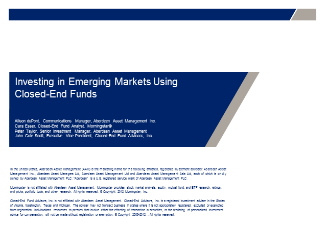 Investing in Emerging Markets Using Closed-End Funds