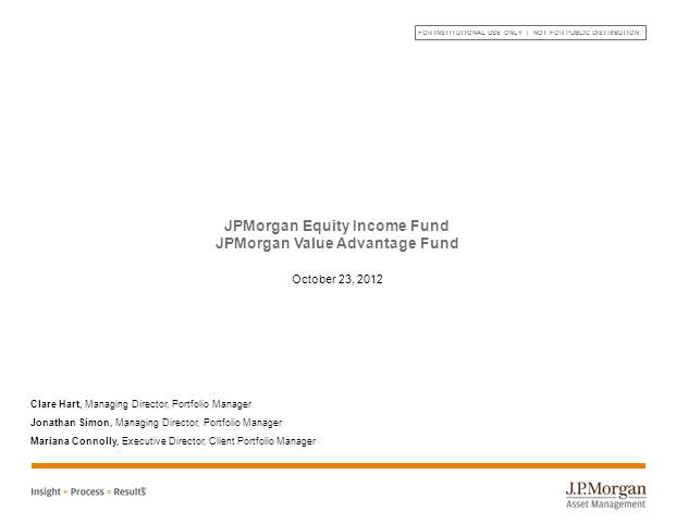 JPMorgan Equity Income & Value Advantage Funds Webcast