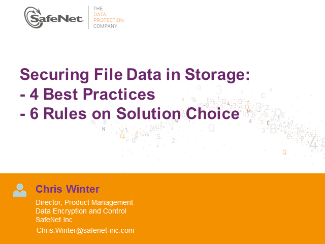 Securing File Data in Storage: 4 Best Practices. 6 Rules on Solution Choice