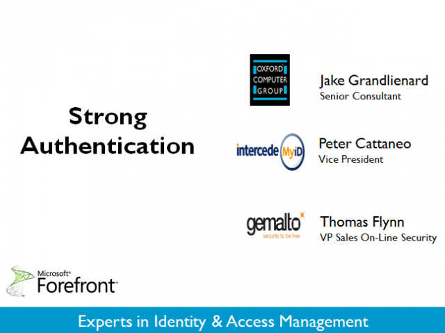 Strong Authentication with FIM 2010 R2, Intercede MyID, and Gemalto