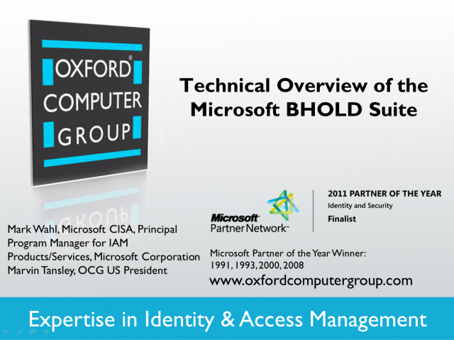 Technical Overview of Microsoft BHOLD Suite