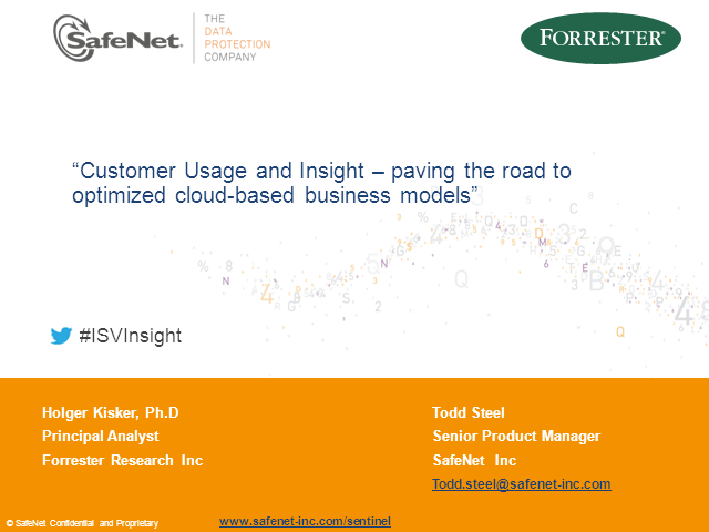 Customer Usage and Insight. The road to optimized cloud-based business models