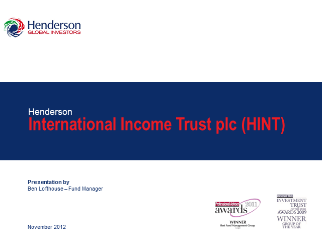 Henderson International Income Trust plc Webcast