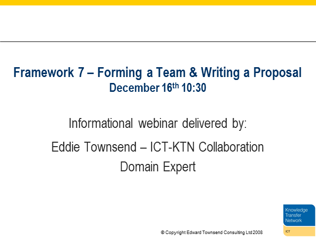 Framework 7 – Forming a Team & Writing a Proposal