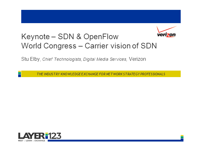 Keynote live from SDN & OpenFlow World Congress