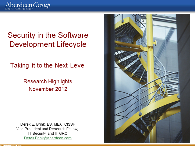 Security in the Software Development Lifecycle