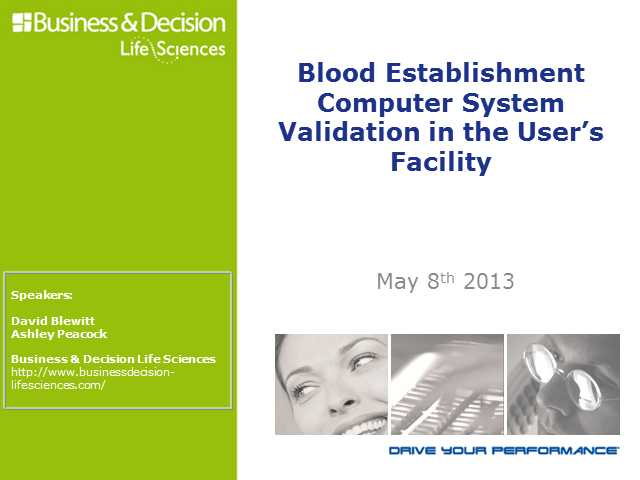 Computer Systems Validation at Blood Establishments