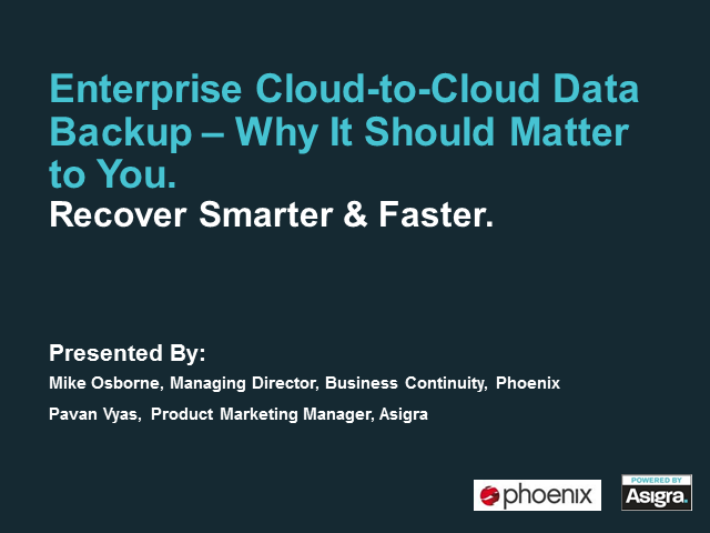 Enterprise Cloud-to-Cloud Data Backup – Why It Should Matter to You.