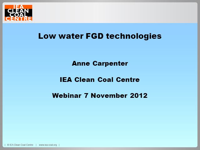 Low water FGD technologies