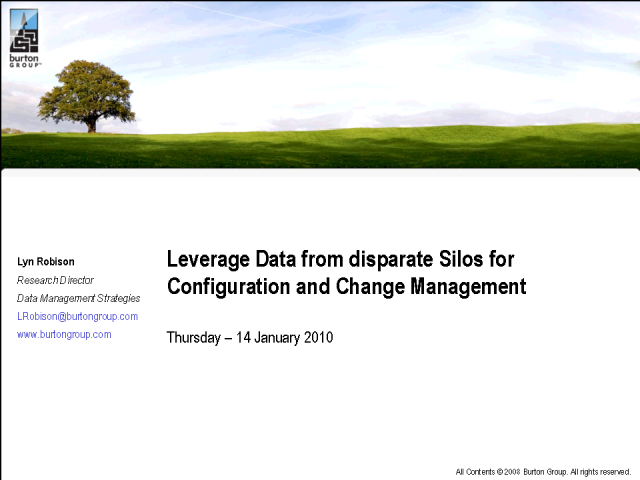 Leverage Data from Disparate Silos for Config and Change Mgmt.