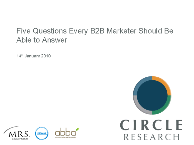 Five questions every B2B marketer should be able to answer…