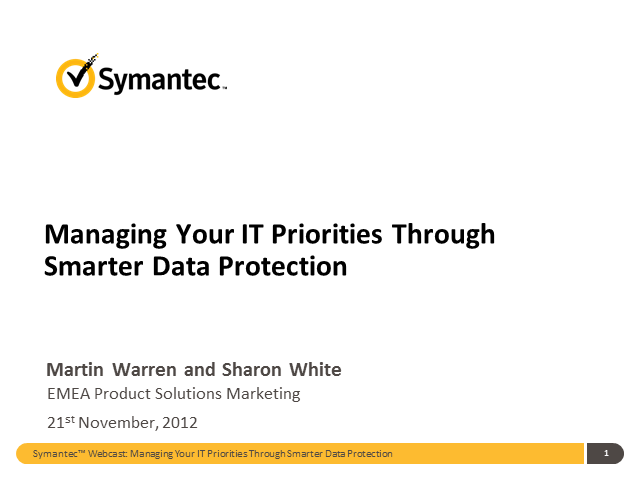 Managing your IT Priorities Through Smarter Data Protection
