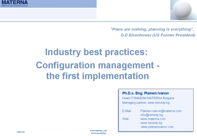 Industry Best Practices: Configuration Management