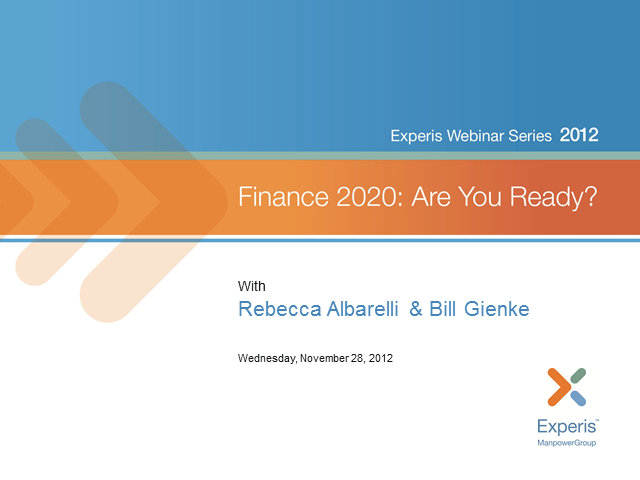 Finance 2020: Forces Shaping Your Future